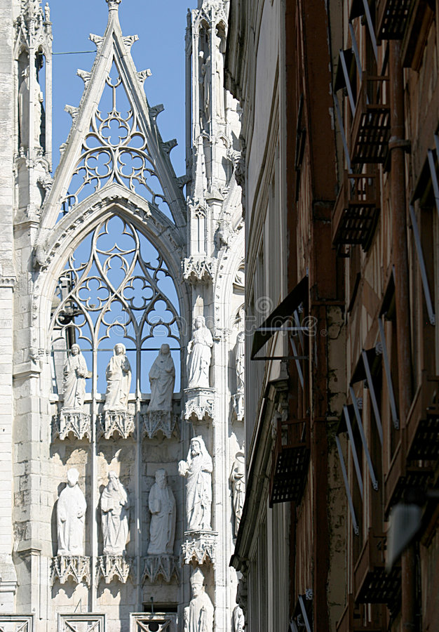 Detail of cathedral and framework houses stock photography