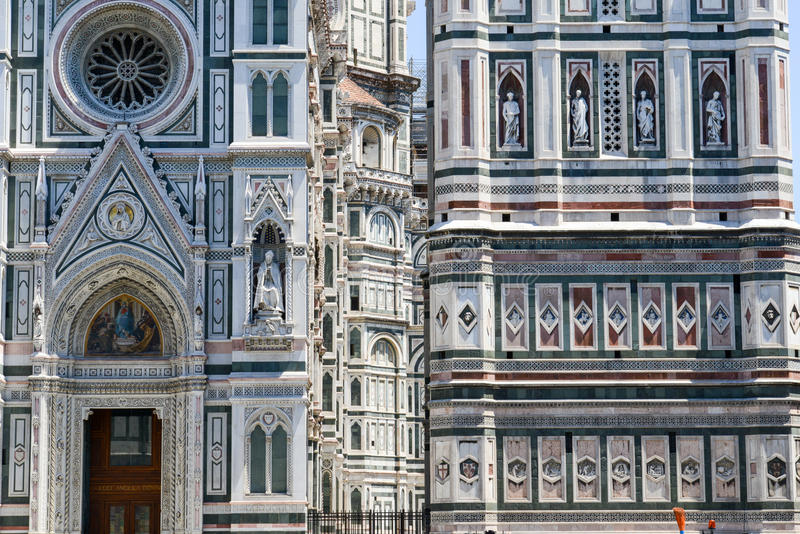 Detail of the Cathedral and Giotto& x27;s belltower in Florence royalty free stock image