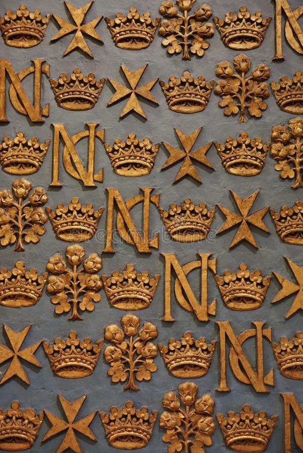 Baroque Malta Ornaments and gold crown royalty free stock image