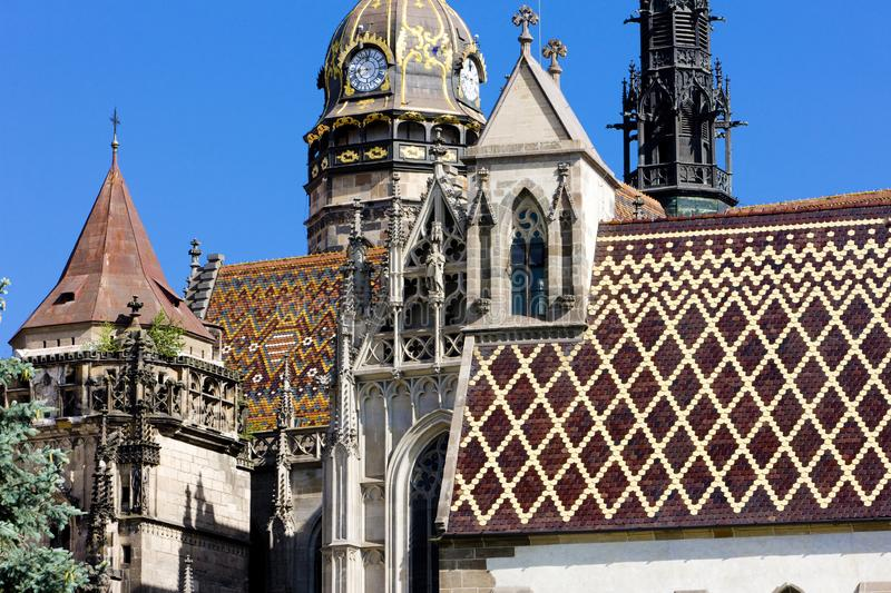 Detail of Cathedral of Saint Elizabeth, Kosice, Slovakia. Outdoor, outdoors, outside, exterior, exteriors, europe, central, republic, czechoslovakia, eastern stock photo
