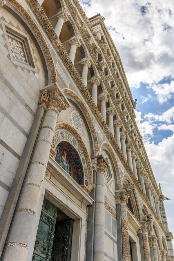 Detail of the Cathedral of Santa Maria Assunta at Piazza dei Miracoli square in Pisa, Tuscany, Italy stock photos