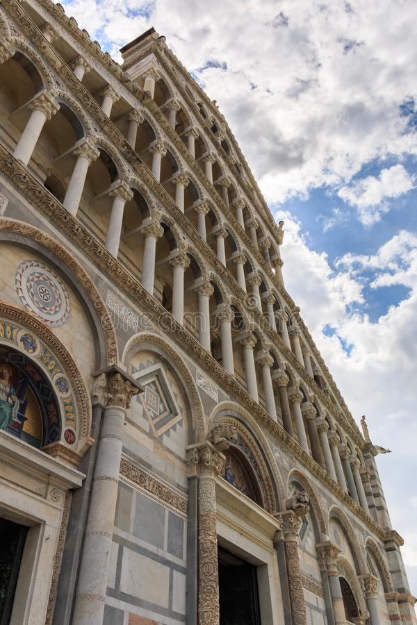 Detail of the Cathedral of Santa Maria Assunta at Piazza dei Miracoli square in Pisa, Tuscany, Italy stock images