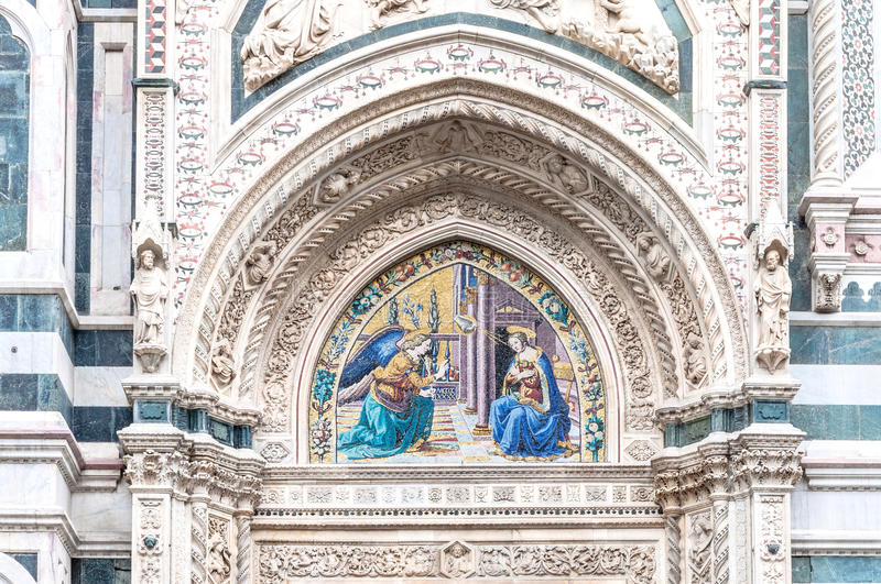 Detail of Cathedral Santa Maria del Fiore, Florence, Italy stock photo