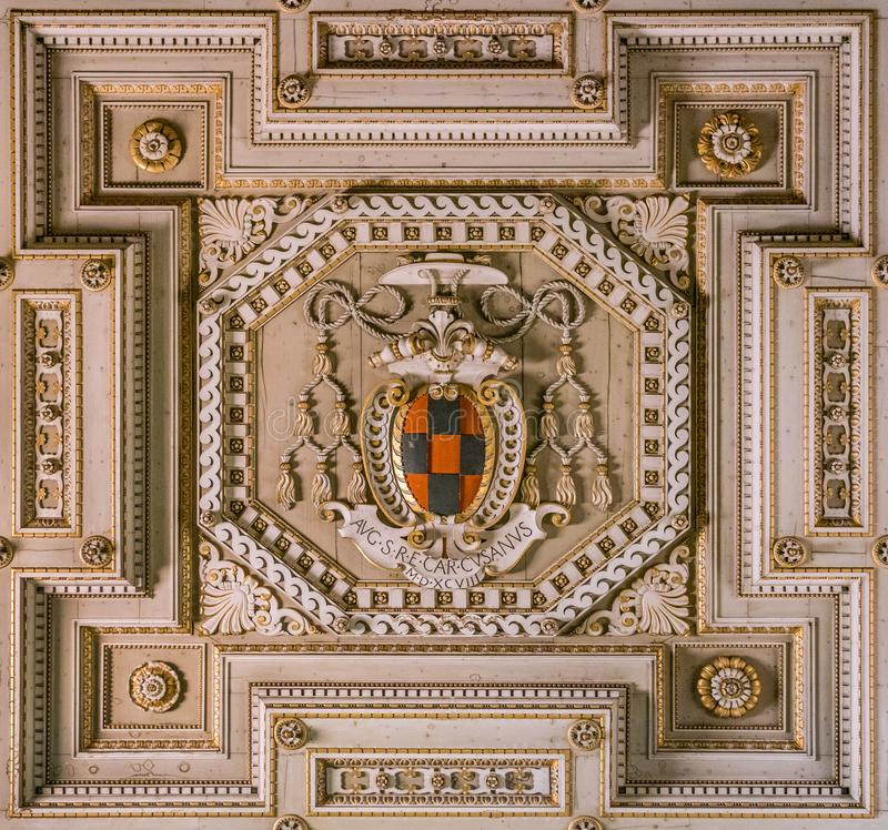 Detail from the ceiling of the Basilica of Saints John and Paul with the saints statues. Caelian Hill in Rome, Italy. The Basilica of Saints John and Paul on stock image
