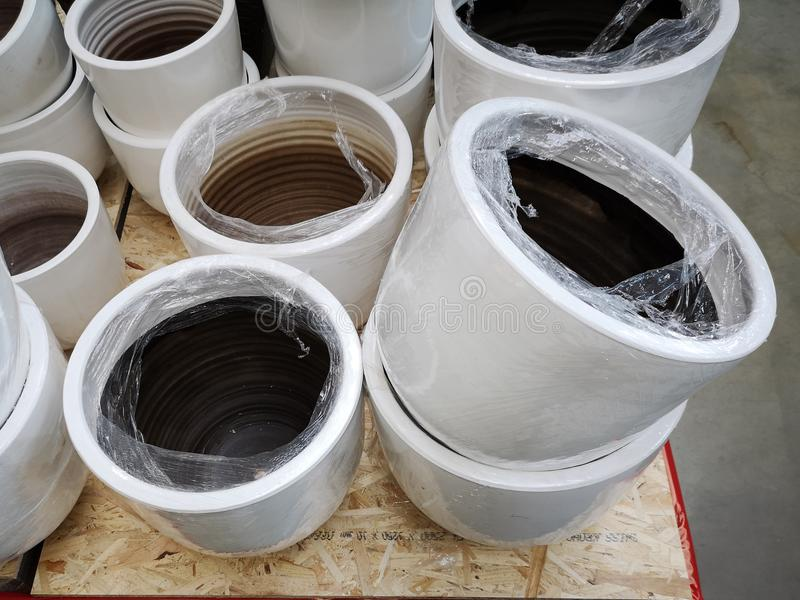 Ceramic pots for sale stock photography