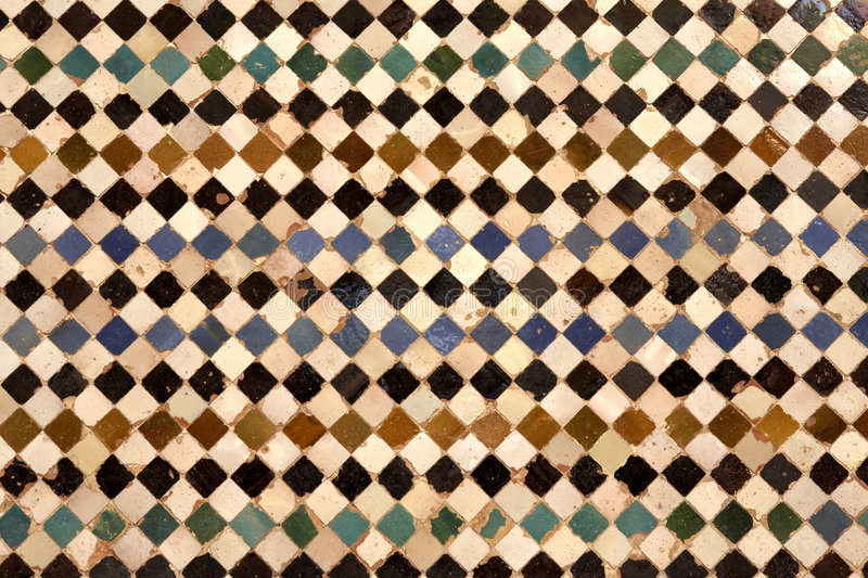 Detail of ceramic walls. In the patio del cuarto dorado in the alhambra palace granada spain andalucia taken in august 2006 royalty free stock photos
