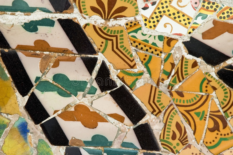 Detail of the ceramics from the Gaudi bench in par