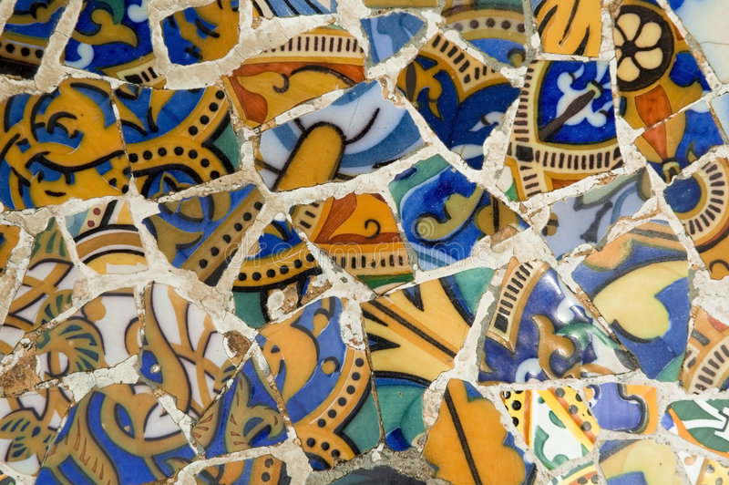 Download Detail Of The Ceramics From The Gaudi Bench In Par Stock Photo - Image: 4773812
