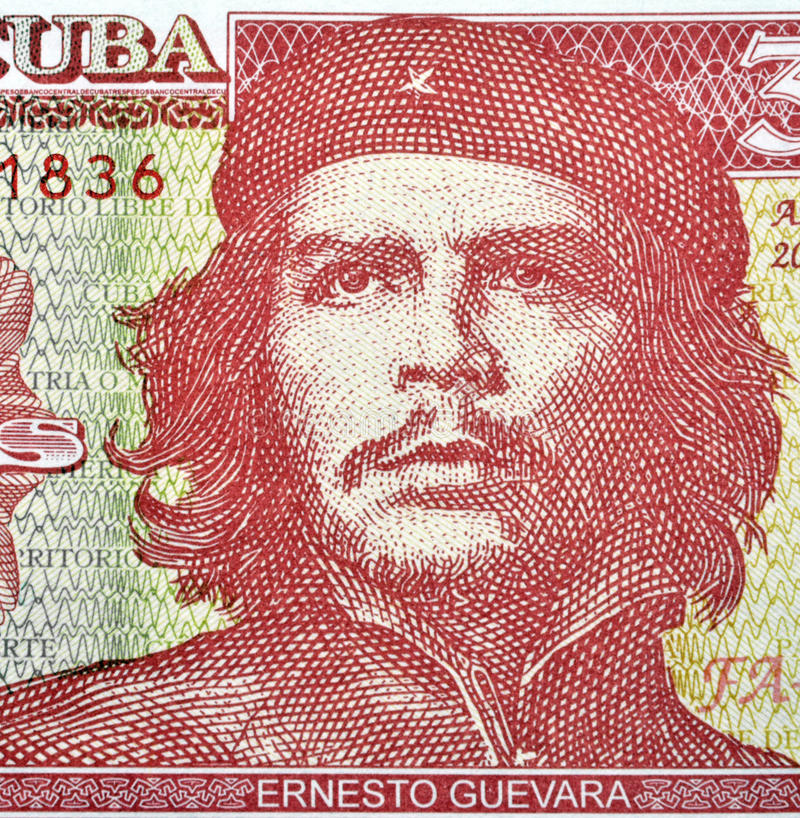 Detail of Che Guevara. On a Vintage 3 Pesos banknote from Cuba royalty free stock images