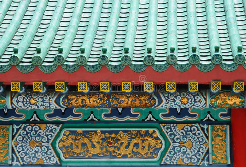 Detail of chinese roof. In Hong Kong stock photography