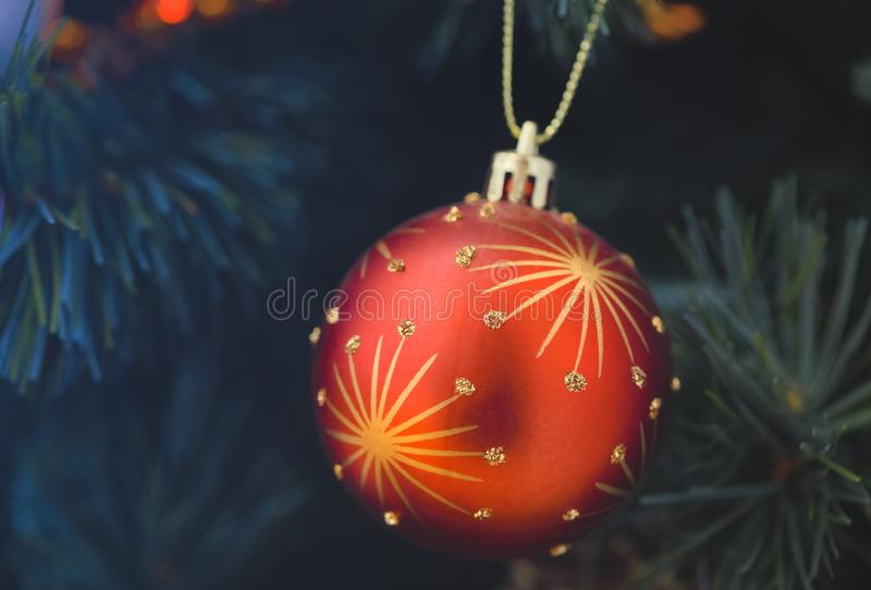 Detail of Christmas decoration on tree with coloured lights. Christmas tree in background royalty free stock photography