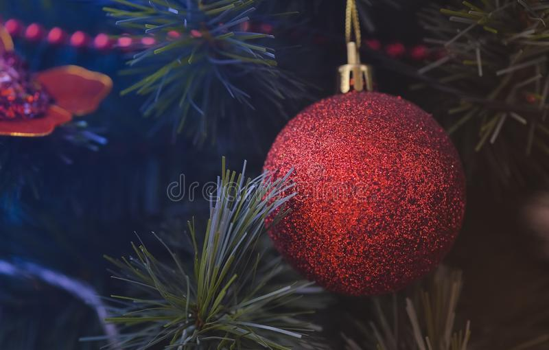 Detail of Christmas decoration on tree with coloured lights. Christmas tree in background royalty free stock photo