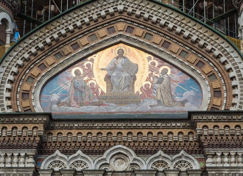 St. Petersburg, Russia - September 10, 2017: Detail of mosaics of the Church of the Savior on spilled Blood royalty free stock image