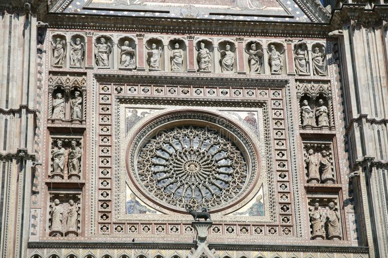 Detail of Circular window of Cathedral of Orvieto in Italy. Detail of Circular Window of Facade of Cathedral of Orvieto in Central Italy stock photos