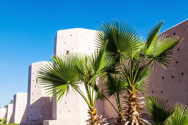 Detail of the city wall of Marrakesh. With clear blue sky stock image