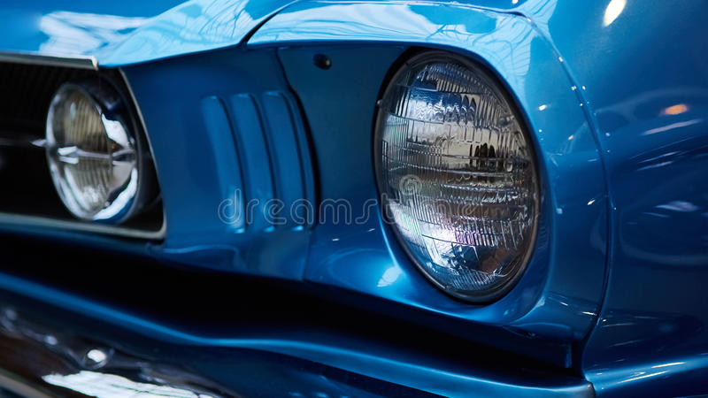 Detail of classic car. Close-up of headlight stock photography