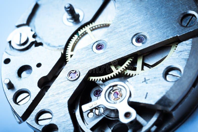 Clock mechanism close-up view, Clockwork. Detail clock mechanism background close-up macro focus royalty free stock photos