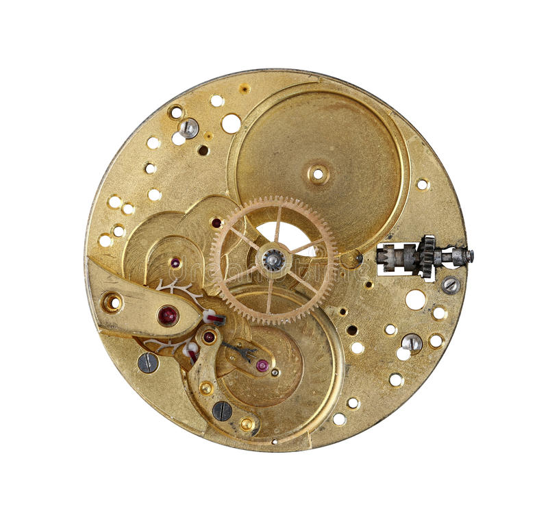 Detail of the clockwork mechanism stock photo