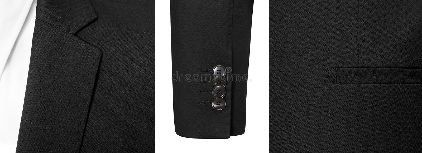 Detail closeup business or classic black Jacket and white shirt, isolated white background with clipping path. stock photography