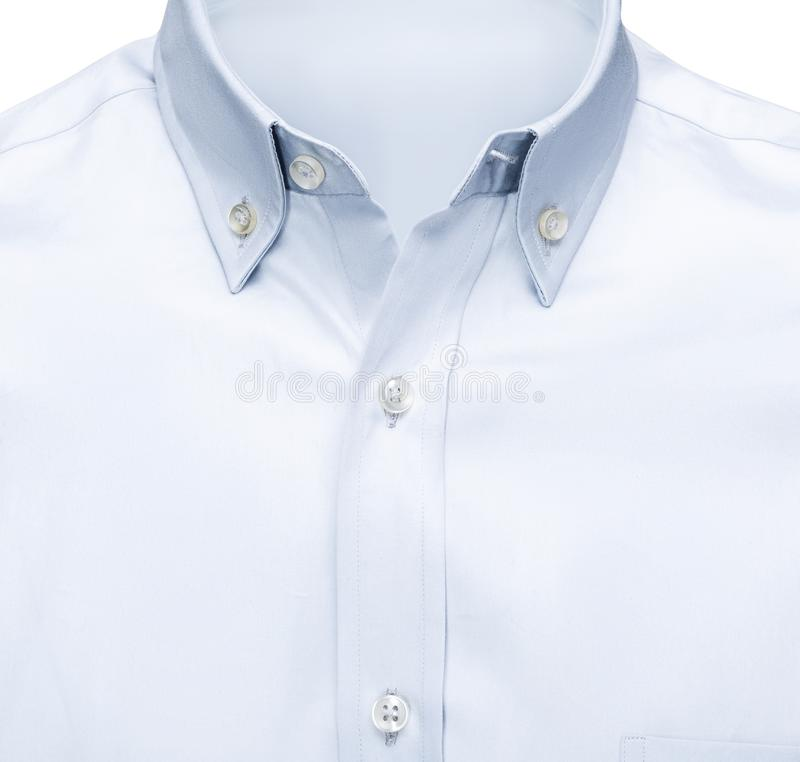 Detail closeup business or classic blue shirt, isolated white background with clipping path. royalty free stock photo