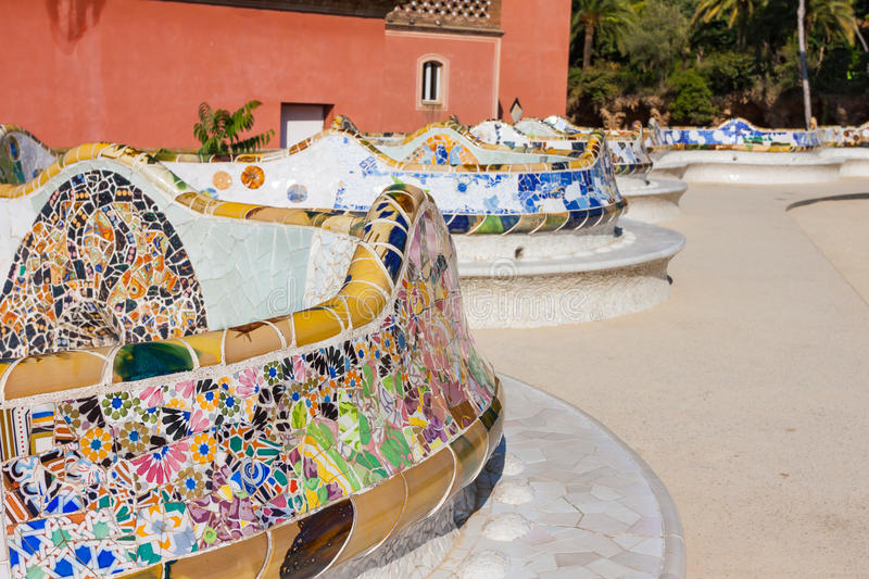 Detail closeup of mosaic in Park Guell, Barcelona royalty free stock photography