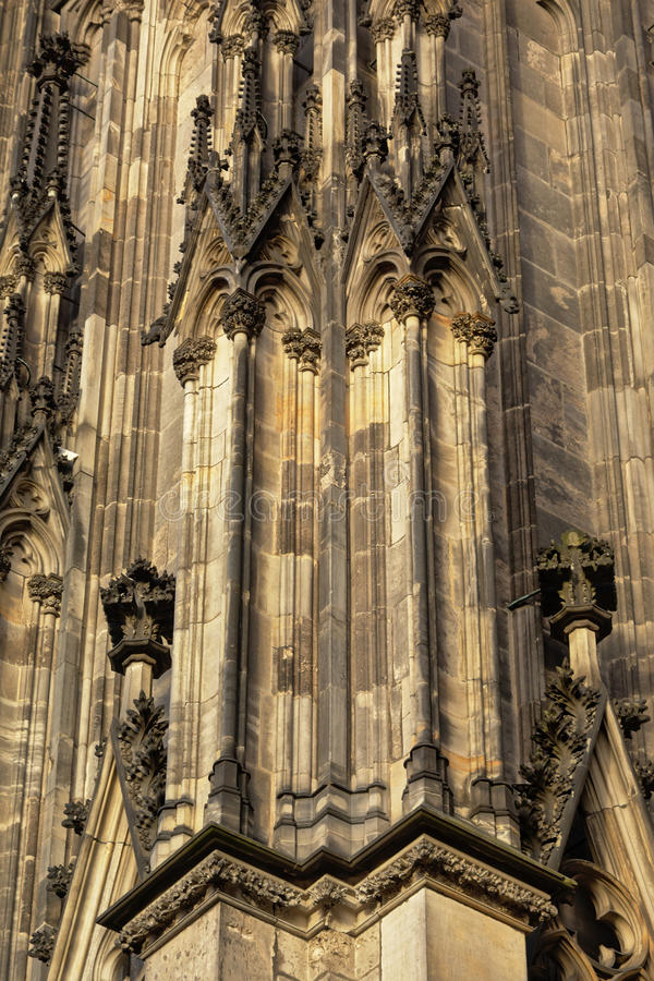 Detail of Cologne cathedral. Gothic architectural detail of cologne cathedral of Saint Peter royalty free stock photography