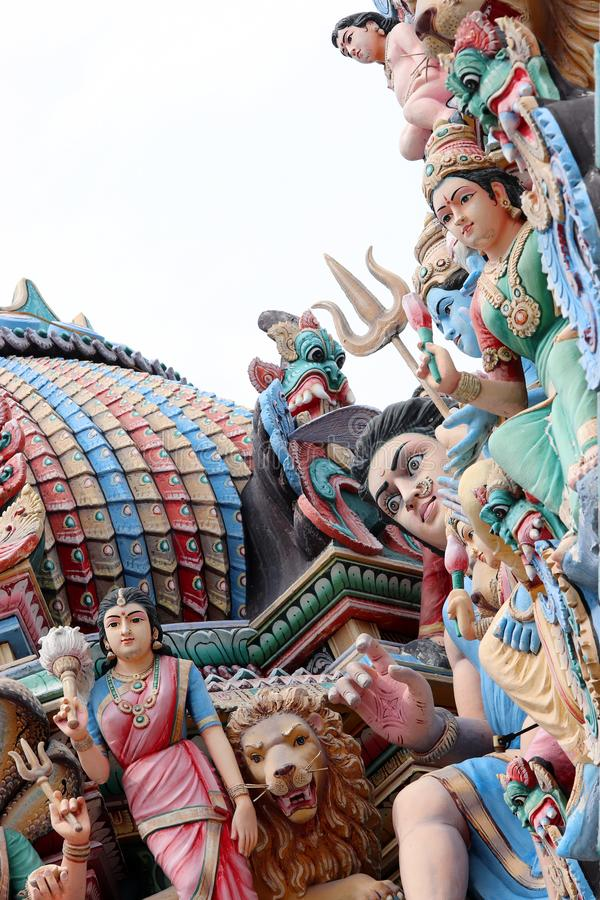 The roof of the oldest Sri Mariamman Hindu temple in Chinatown Singapore royalty free stock image