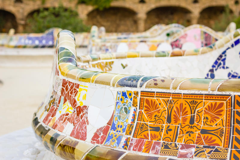 Detail of colorful mosaic in a bench of park Guell, designed by royalty free stock image