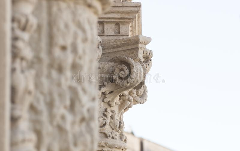 Detail of column and ornaments. In baroque style stock photos
