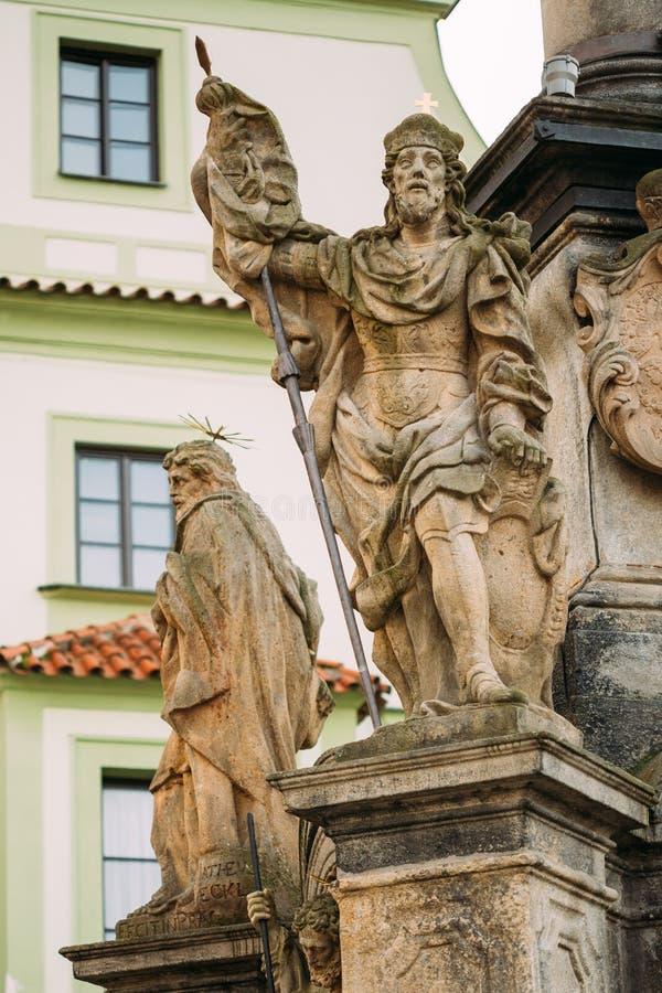 Detail of Column. Statue on main town square in Cesky Krumlov, Czech Republic stock photo
