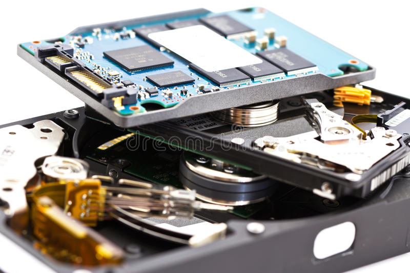 Detail comparison of 2.5 , 3.5 HDD and SSD stock image