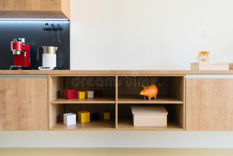 Detail of contemporary kitchen interior. Kitchen appliances in contemporary interior stock photography