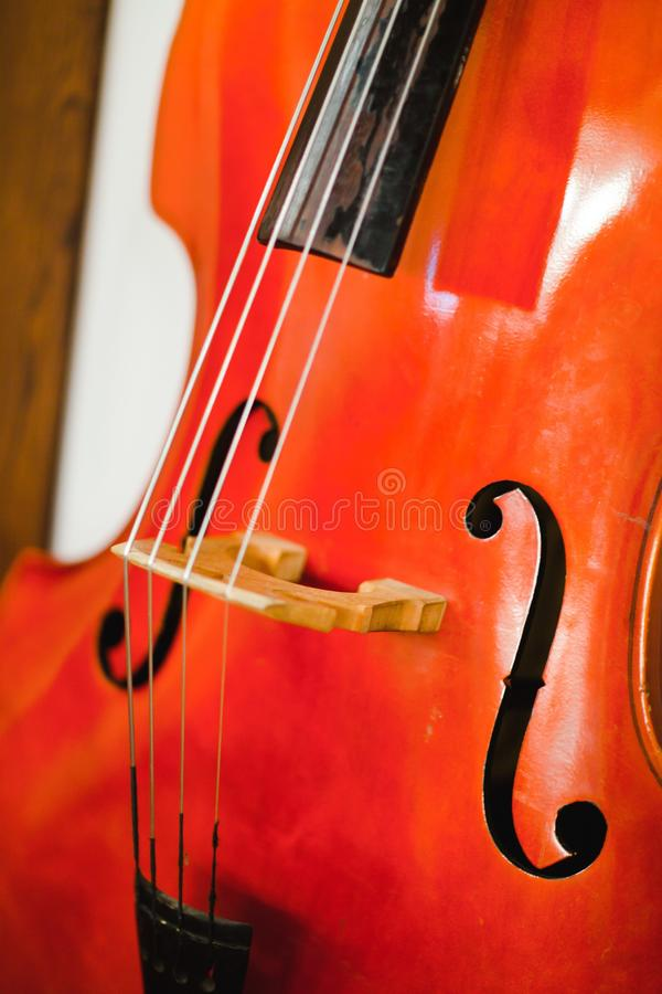 Detail of contra bass - F holes - violin corners - C bount - bridge - strings. Detail of contra bass. F holes, violin corners, C bount and bridge with strings royalty free stock images