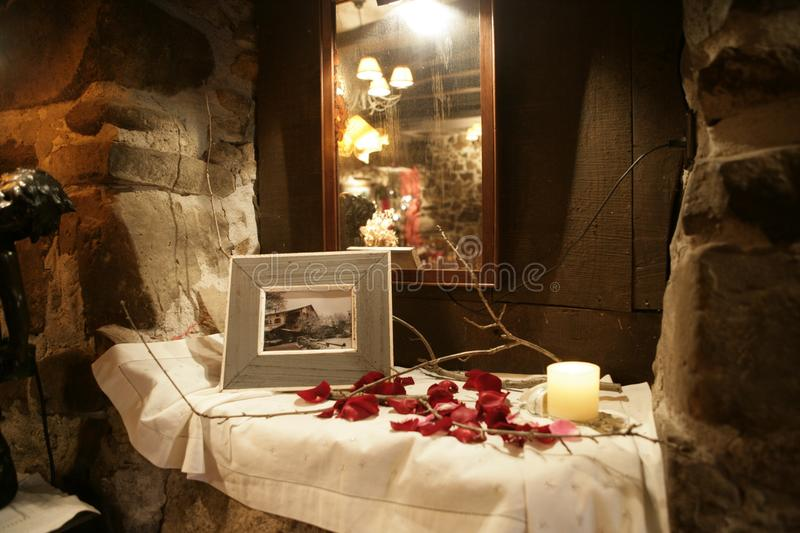 Detail of a corner of a rustic dining room and restaurant. royalty free stock photo