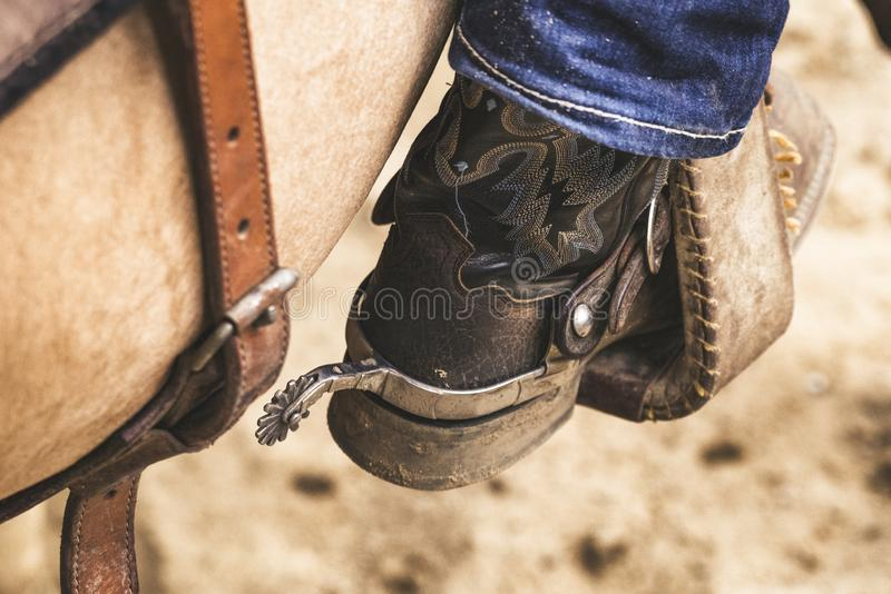 Detail of cowboy boot with spur royalty free stock photos