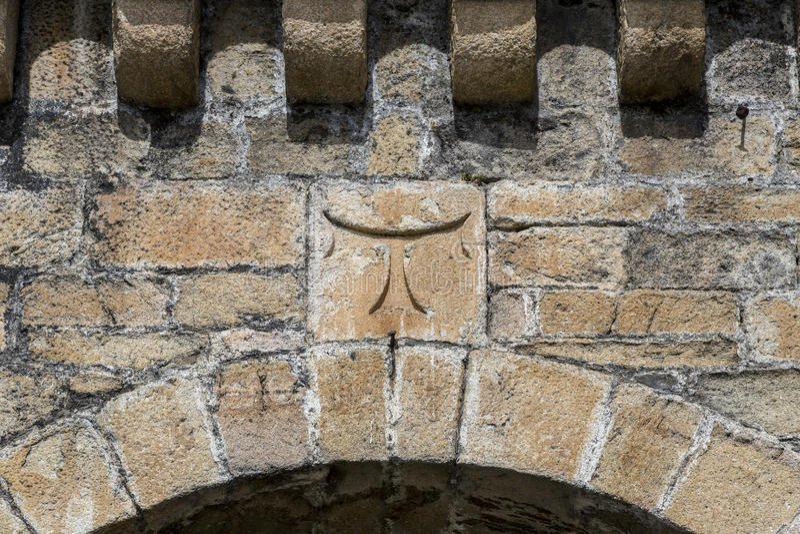 Detail of cross tau Templar in Ponferrada Castle stock photography