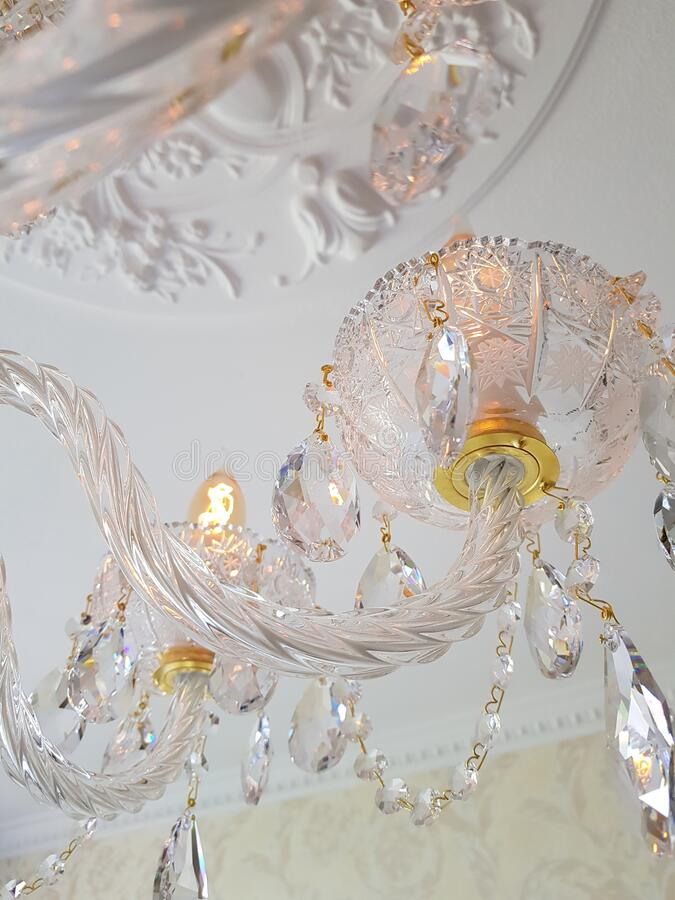 Crystal chandelier stock photography