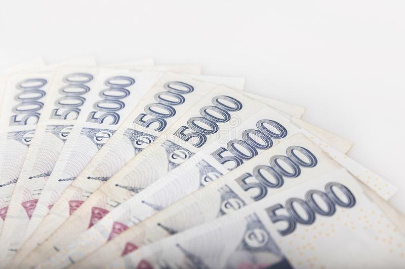 Detail of czech money - the czech currency royalty free stock photo