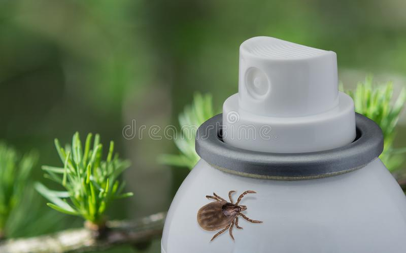 Tick and spray on blurred green background royalty free stock image