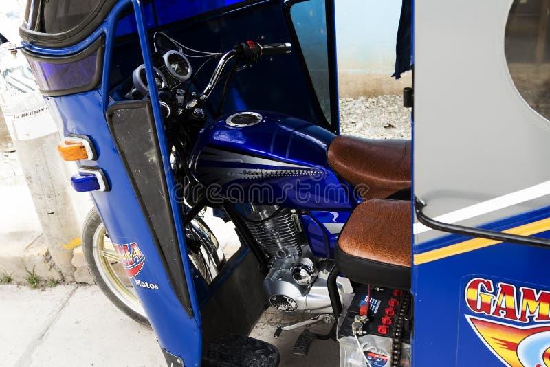 Detail dat van Bestuurdersgebied wordt geschoten van Motorfietscabine Ollantaytambo Peru South America royalty-vrije stock foto's
