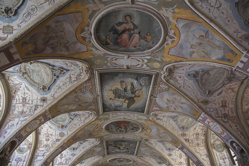 Detail of the decorated ceiling royalty free stock images