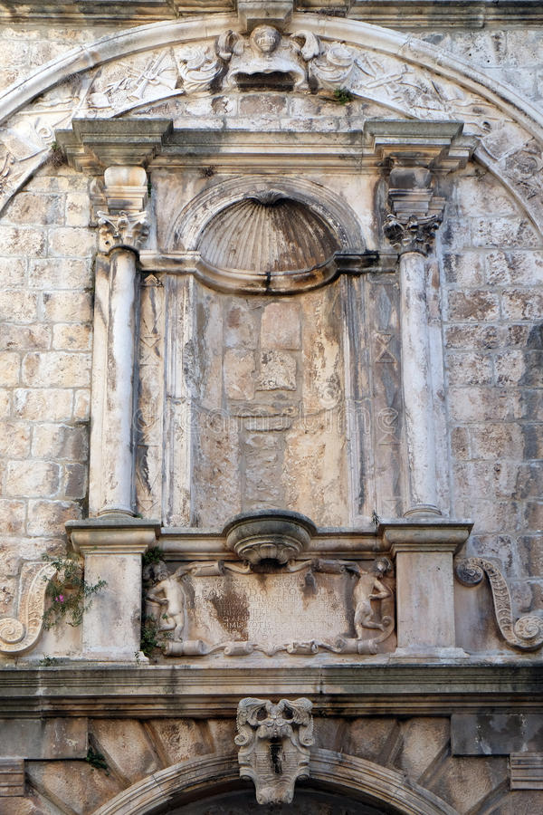 Detail of decoration at house built in Renaissance age in Korcula old town, Croatia. Korcula is a historic fortified town on the island of Korcula stock images