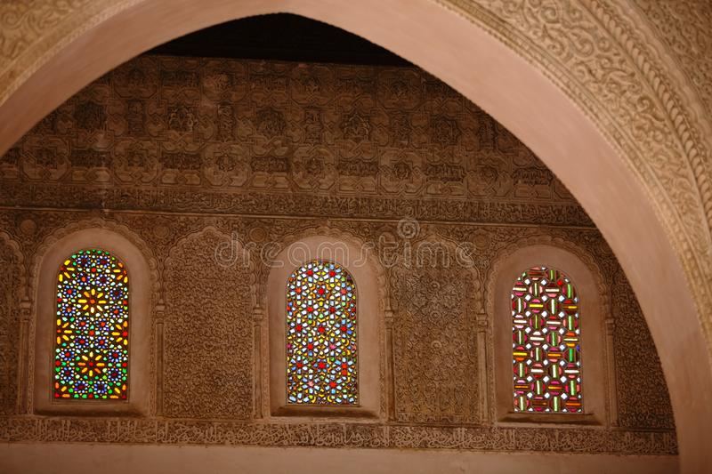 Detail decorative of Mosque Old wall decorated with beautiful St stock photography