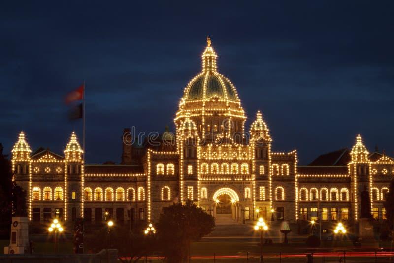 Detail der Abendansicht des Regierungshauses in Victoria BC stockfotos