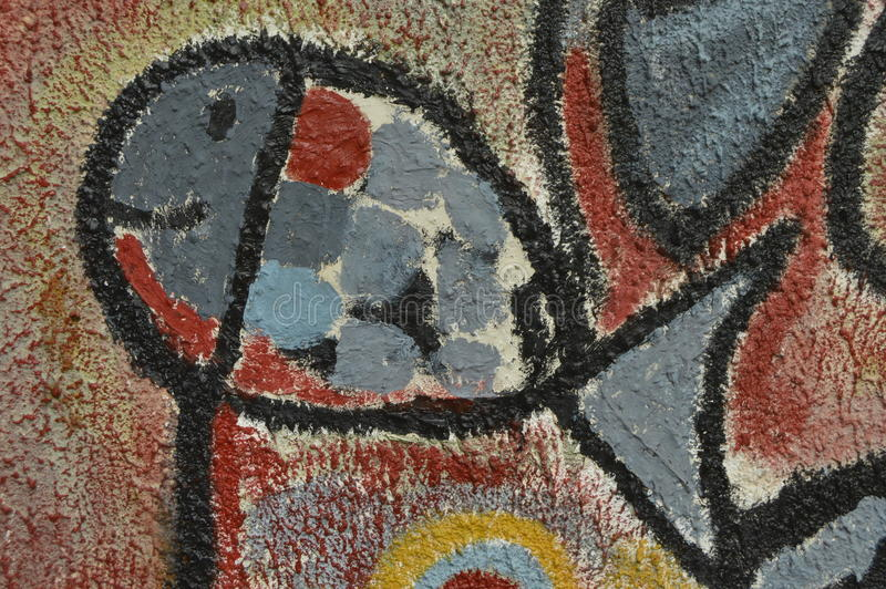 Detail der abstrakten Grafik gemalt auf Wandgemälde oder Graffiti lizenzfreie stockfotos