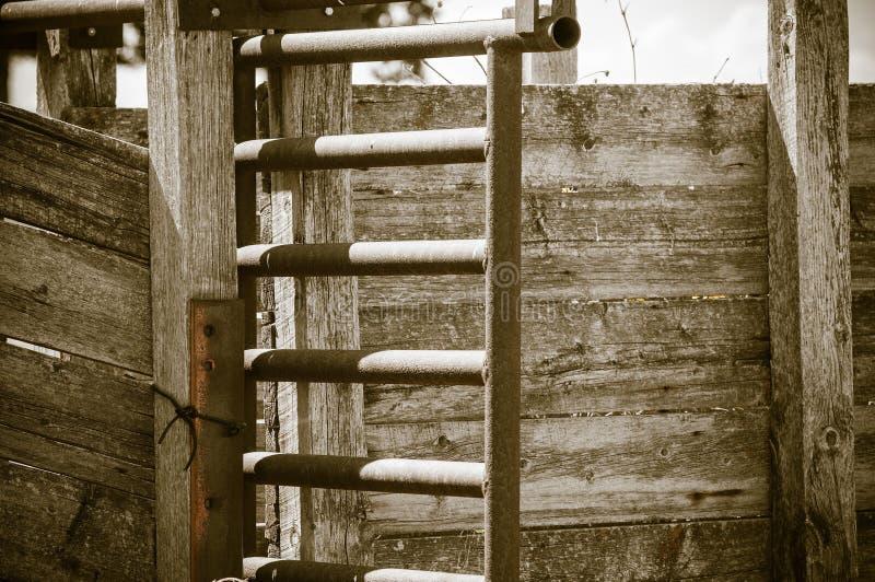 Detail der alten Holz-und Metallviehbestand-Rutsche ländliches Amerika (Antike) stockfoto