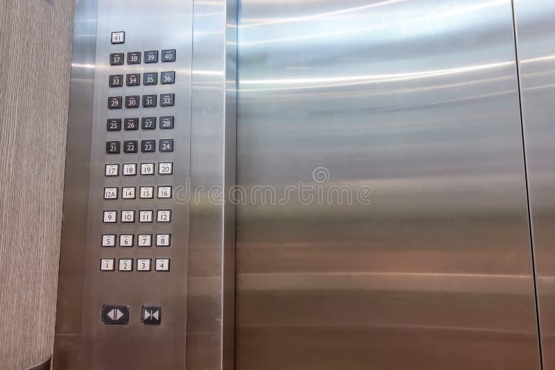 Detail der Aufzug- oder Aufzugsschlüsselauflage, Aufzug knöpft panal lizenzfreies stockbild