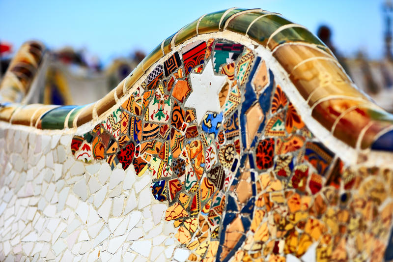 Detail der Bank durch Gaudi lizenzfreies stockfoto