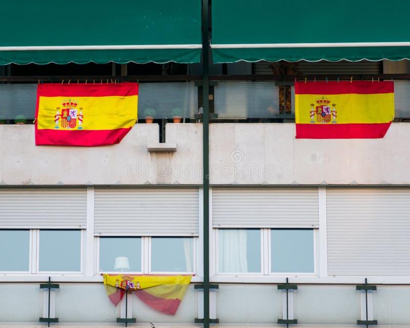 Detail der Fassadengebäudearbeiterklasse Madrid, Spanien stockbild