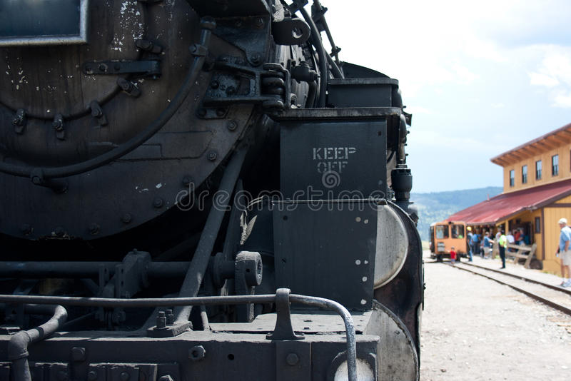 Detail der Front der Dampf-Maschinen-Eisenbahn stockfotos